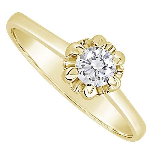 MILLE AMORI ∞ Anello di fidanzamento Donna Oro e Diamanti ∞ Oro Bianco o Giallo 9 Carati 375 Diamante 0.14 Carati ∞ Collezione Corona + Luce + Volume e In oro giallo 375/1000, 16, cod. SPSOL14G06