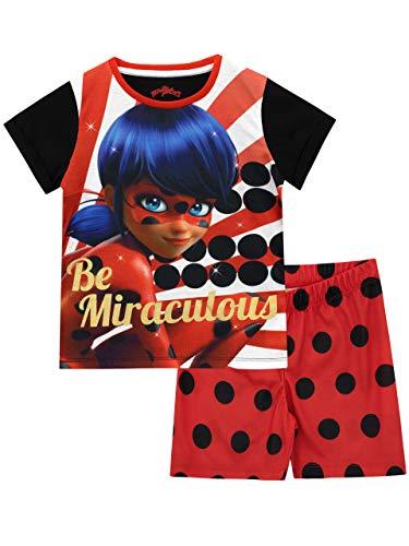 Miraculous Pijamas de Manga Corta para niñas Ladybug Rojo 4-5 Años