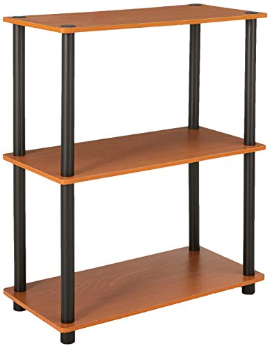 Furinno Turn-N-Tube Display Rack, 3-Tier Single, Light Cherry/Black