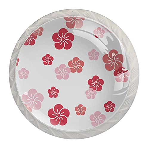 (4 piezas) pomos de cajón para cajones, tiradores de cristal para gabinete con tornillos para armario, hogar, oficina, armario, rosa, japonés, flores de cerezo, 35 mm