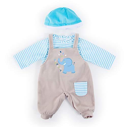 Bayer Design 84676AA Puppenkleidung für 40-46cm Puppen, Latzhose, Oberteil und Mütze, Set, Outfit mit Elefant, blau, grau mit Streifen