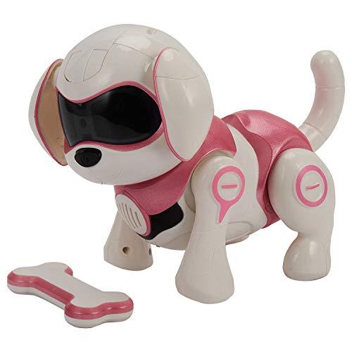 Zarfmiya Sensor Inteligente del Perrito Robot Robot Perro Juguetes ElectróNicos Hilos del Animal DoméStico Caminará Hablando Remoto Perro Perro Robot Mascota Juguete Rosa