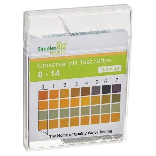 SimplexHealth Wasser pH Teststreifen von 0-14 (100 Stück) Säure Basen Teststreifen