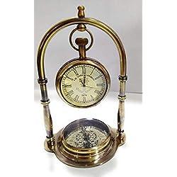 ARTIZANSTORE Nautical Clock Ship Table Clock Brass Desk Clock Maritime Brass Compass with Antique Victoria London Pocket Watch