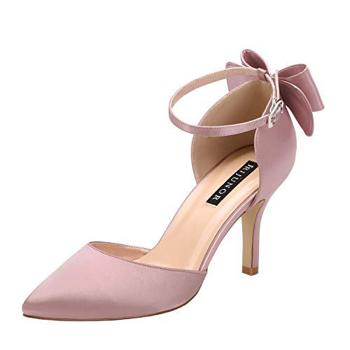 ERIJUNOR E1876B Wedding Evening Party Shoes Comfortable Mid Heels Pumps with Bow Knot Ankle Strap Wide Width Satin Shoes Rose Gold Size 6