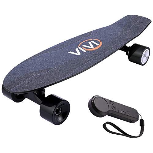 Vivi H2S-2 Elektro Skateboard, Geschenkpaket, Jugend Elektro Longboard mit Fernbedienung für Erwachsene Jugendliche, 10 MPH Höchstgeschwindigkeit, 350W Einzelmotor, 8 Meilen Reichweite