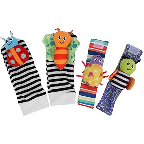 Calcetines para bebés Juguetes Formas lindas Calcetín suave infantil Saludable para mejorar la sensación del bebé para bebés de 0 a 2 años(A set of wristband socks)