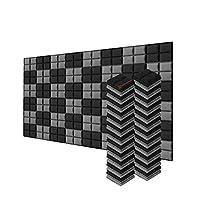 新しい48ピース 200 x 200 x 50 mm 半球グリッド 吸音材 防音 吸音材質ポリウレタン SD1040 (黒とグレー)