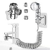 doccetta per lavandino, roscid set soffione doccia telescopico doccino con adattatore aeratore rubinetto 24mm g1/2 per rubinetto del bagno, rubinetto del cucina (rubinetto non incluso)
