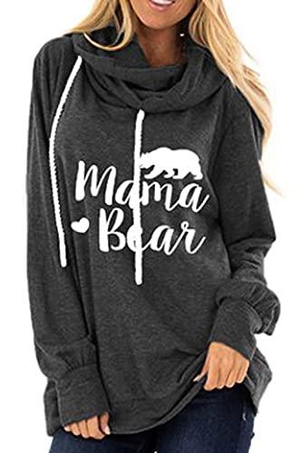 Roevite Long Sleeve Pullover Hoodie Sweatshirt for Women Mama Bear Printed Top M Dark Grey