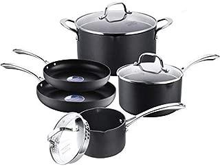 COOKSMARK Hard-Anodized Aluminum Pot and Pan Set Black Scratch Resistant Nonstick Cookware Set 8-Piece