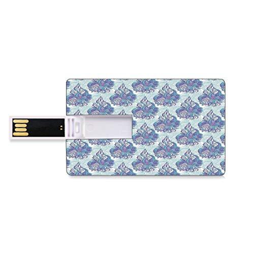 128G Unidades flash USB flash Batik Decor Forma de tarjeta de crédito bancaria Clave comercial U Disco de almacenamiento Memory Stick Flores con forma de cono Mehendi elementos de la forma Arabesque p