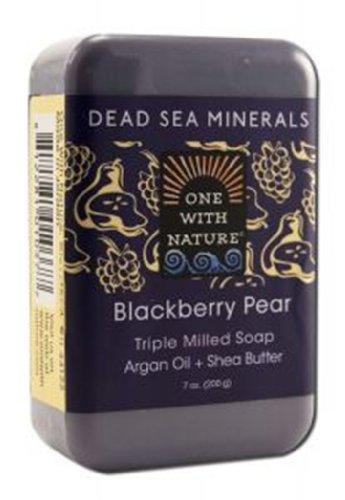 One With Nature - Sea Minerals morts triplent la poire fraisée de Blackberry de savon de barre - 7 oz.