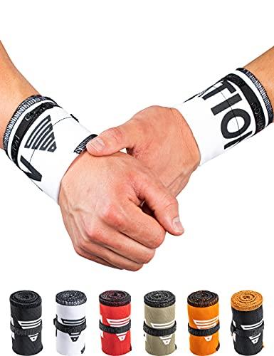 GORNATION Muñequeras Gym Wrist Wraps Venda Muñeca por Calistenia/Calisthenics, Fitness, Entrenamiento de Peso Corporal Hombre y Mujer (Premium White)