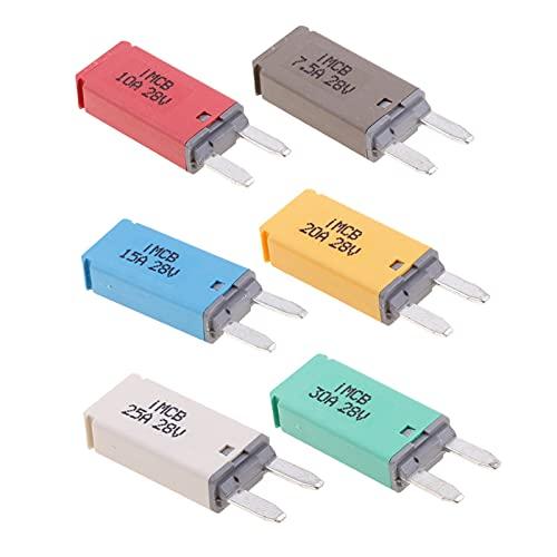 Fusibles 6 PCS 7.5A + 10A + 15A + 20A + 25A + 30A Blade Fuse Fuse ATM Mini Kit Interruptor de circuito Manual Restablecer un fusible estéreo