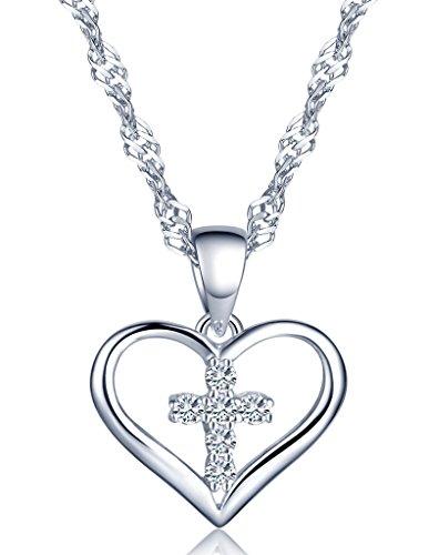 Infinite U Classic croce in argento Sterling 925 con ciondolo a forma di cuore zircone collana per donna/ragazza, colore: Argento