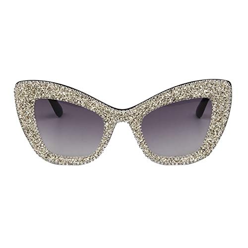 YLNJYJ Gafas De Sol Gafas De SolGafas De Sol De Moda Mujeres Ojo De Gato Gafas De Sol Hombres Oro Plata Grava Retro Love Heart Hembra Tonos Oculos