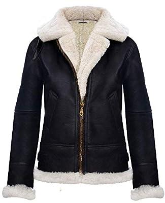 Women's B3 WWII Genuine White Shearling Black Sheepskin Leather Flying Aviator Bomber Winter Hoodie Jacket (4XL)