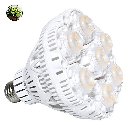SANSI 36W Daylight LED Plant Light Bulb Full Spectrum Ceramic LED Grow Light Blub, E26 Plant Bulb Sunlight White Grow Light for Indoor Garden Farming Greenhouse Grow Walls, UV IR E26