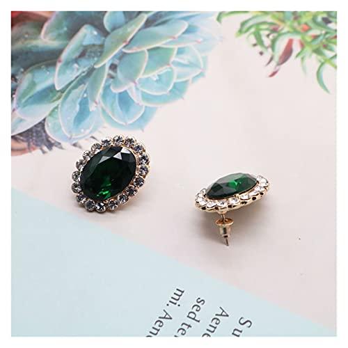 zlw-shop Collar de Mujer Collar de Encanto Colgante Verde Elegante, Collar romántico de Doble Capa Gargantilla de Perla Collares Pendientes (Metal Color : Stud 1)