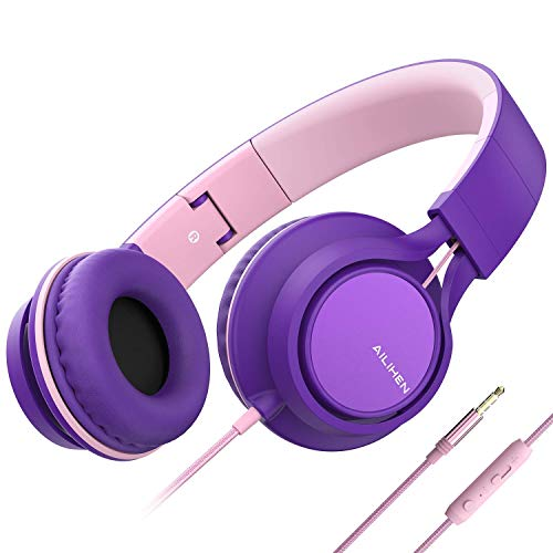 AILIHEN C8 (Upgraded) Headphones with Microphone and Volume Control Folding Lightweight Headset for Cellphones Tablets Smartphones Laptop Chromebook Computer PC Mp3/4 (Purple Pink) (Renewed)