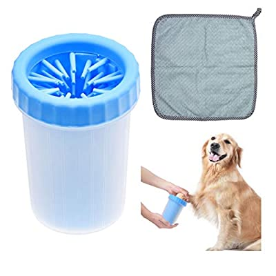 Kare & Kind Dog Paw Cleaner - Portable Washer Pet Cleaning Brush for Bathing and Grooming - Removes, Dirt, Mud, Debris - Soft Silicone Bristles Gentle for Pets - Also Includes Microfiber Cloth