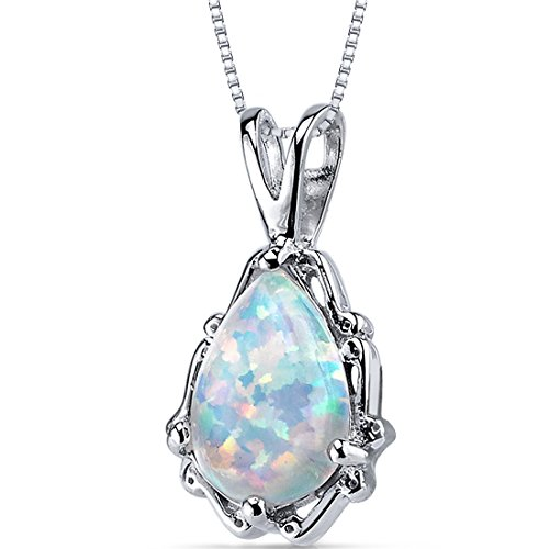 Peora Created Fire Opal Pendant Necklace for Women in Sterling Silver Pear Shape 1.50 Carats