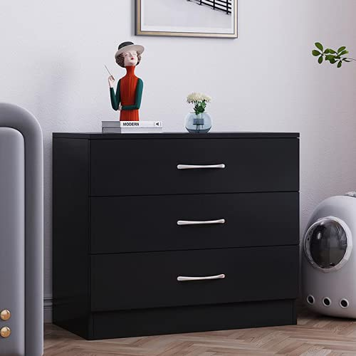 Songtree Chest of Drawers 3/4/5 Drawer with Metal Handles and Runners Bedside Table Cabinet Storage for Bedroom Living Room Furniture (3 Drawer, Black)