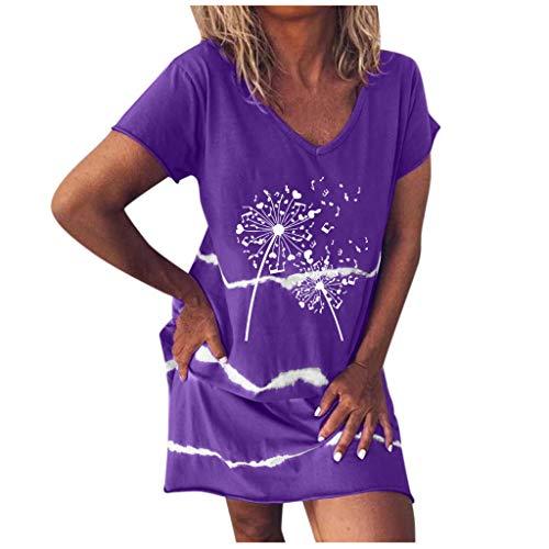 Luotuo Damen Kleider T-Shirt Kleid Sommerkleid für Damen Brautkleid Strandkleid V-Ausschnitt Kurzarm Minikleid Kleid Langes Shirt Lose Tunika Top