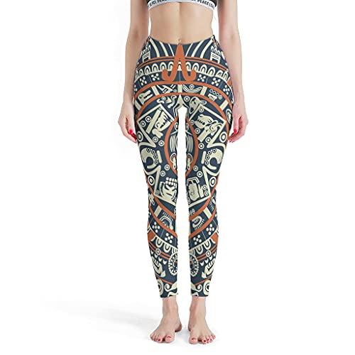 Huffle-Pickffle Pantalones de yoga antiguos Inkanmayazteken multicolor, ultrasuaves, diseño único, pantalones de viaje, color blanco, 4 unidades