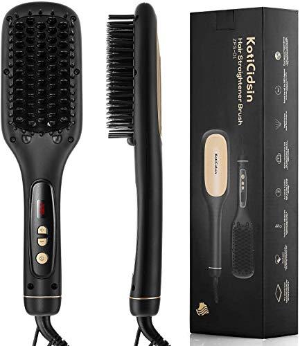 KotiCidsin - Cepillo alisador, pantalla LED + peine de temperatura ajustable, cepillo térmico iónico, anticalentamiento + hierro