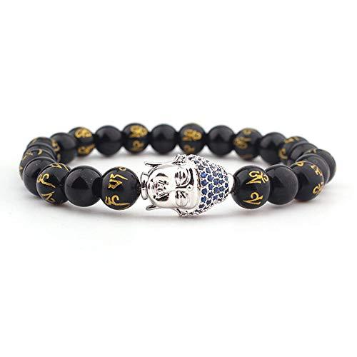 Armband van natuursteen, parelarmband van natuursteen, 8 mm, lavasteen, micro-inzetstukken, zilver-opaal, Boeddha-hoofdarmband, elastisch, voor paren