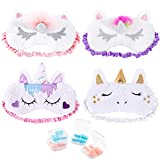 Whaline 4 Pieces Unicorn Sleeping Eye Cover with 4 Ear Plugs, Plush Soft Plush Blindfold Cute Horn Eye Cover Eyeshade for Kids Women Girls Travel Meditation Nap Night Sleeping