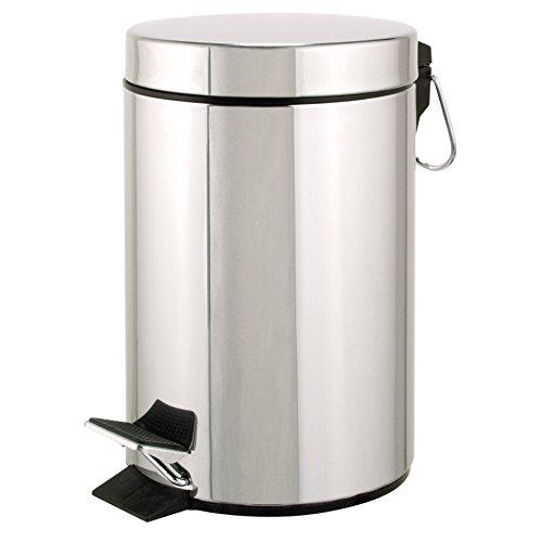 axentia – Cubo de Basura con Pedal para Cocina y baño, Basurero, Papelera Reciclaje para hogar, Contenedor de residuos – Acero Inoxidable – 5 litros