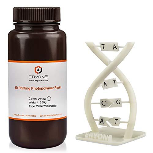 ERYONE Resina Washable per stampante 3D resina ad acqua 395-405nm Fotopolimero a polimerizzazione UV per stampanti DLP LCD, 500g, Blanc