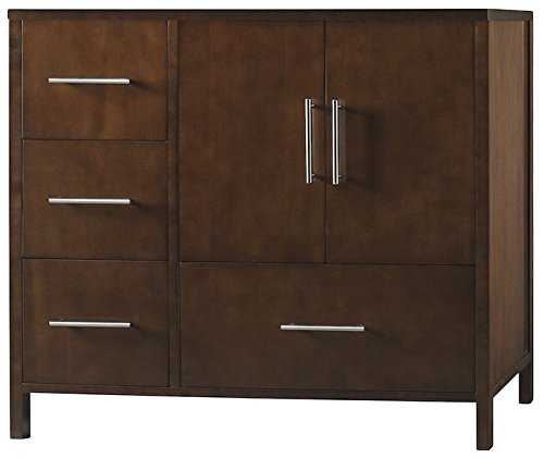 RONBOW Juno 36 Inch Bathroom Vanity Base Cabinet with Soft Close Frosted Glass Door and Right Cabinet Drawer in Dark Cherry 039236-1R-H01