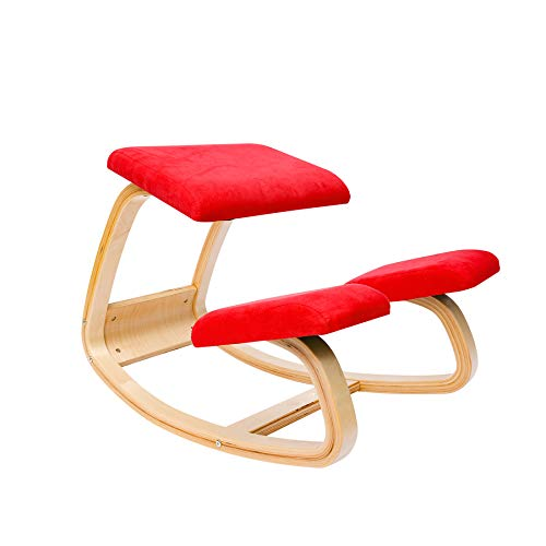Ergonomischer Kniestuhl Bürostuhl kniender Hocker Wirbelsäulen korrektur Stuhl- Flanell (Rot)