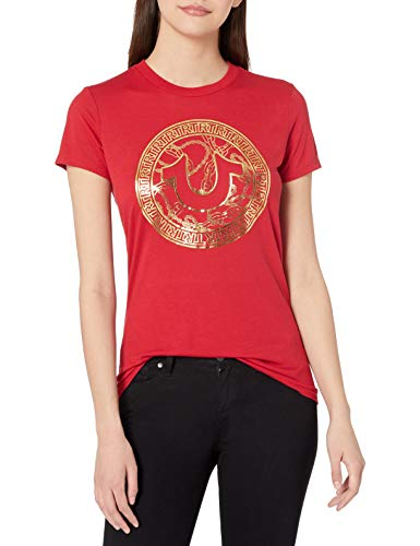True Religion Women's Foil Chain Short Sleeve Crewneck Tee, Ruby Red, S