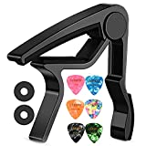 LEKATO Guitar Capo Quick-Change capo for Acoustic and Electric Guitars with 6 Picks & 2 Strap Safety Locks for Free,Black