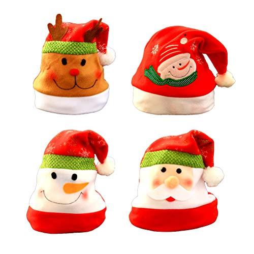 STOBOK 4 Stücke Weihnachtsmütze Nikolausmütze Weihnachtsdeko Xmas Party Deko für Kinder Erwachsene Weihnachtsmann Kostüm (Schneemann Weihnachtsmann Elch)