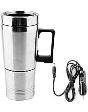 Elektrisk vattenkokare 350 ml + 150 ml rostfritt stål bil elektrisk vattenkokare kaffe te termos vatten uppvärmning kopp 12 V