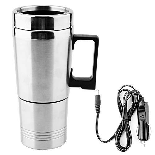 Hervidor electrico, 350 ml + 150 ml Taza de agua portatil Acero inoxidable 12V Coche Calentador de agua electrico Termos para te Cafe Agua caliente
