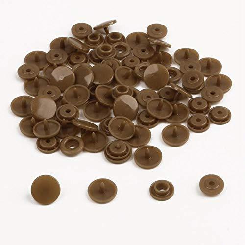 20 sets mix 36 kleuren drukknoop 12 mm ronde 10,5 mm plaksteenbevestigingen voorbladknop voor kledingstuk decoratieve kledingbenodigdheden, bruin