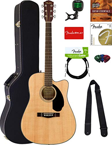 Fender CD-60SCE Dreadnought Acoustic-Electric Guitar - Natural Bundle with Hard Case, Cable, Tuner, Strap, Strings, Picks, Austin Bazaar Instructional DVD, and Polishing Cloth