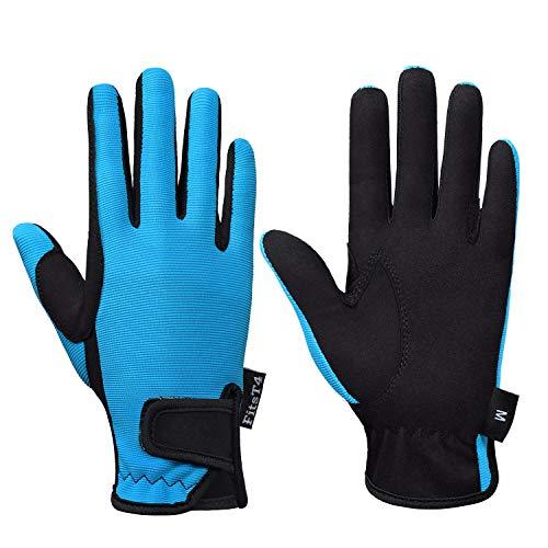 FitsT4 - Guantes de equitación para niños y niñas, guantes de equitación ecuestre para niños y niñas, guantes para exteriores, perfectos para ciclismo, jardinería, color azul