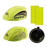 QEEQPF Juego de 2 fundas reflectantes para casco de bicicleta + 16 pegatinas reflectantes llamativas y fundas para casco de bicicleta para excursiones, viajes y viajes