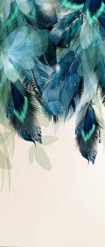 A.Monamour Pegatinas Decorativas de Puerta Autoadhesivo 3D Resumen Floral con Plumas De Pavo Real Y Hojas Azules Brillantes Vinilo para Puertas Mural PVC Pegatinas de Pared Foto Poster 90x200c