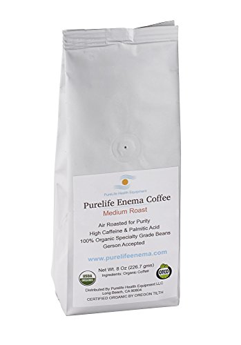 PureLife Organic Enema Coffee - 1/2 LB - Specialty Grade & Air Roasted for Purity and Potency- Ground - Gerson Specific