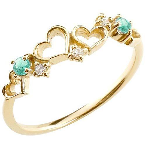 [アトラス] Atrus リング レディース ハート 10金 イエローゴールドk10 ダイヤモンド エメラルド オープンハート ピンキーリング 指輪 華奢 5月誕生石 宝石 8号