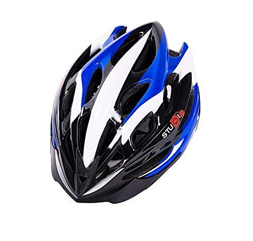 WANGSCANIS - Casco de bicicleta para adulto, ajustable, para ciclismo de montaña, ciclismo de carretera (negro, azul y blanco, talla única)